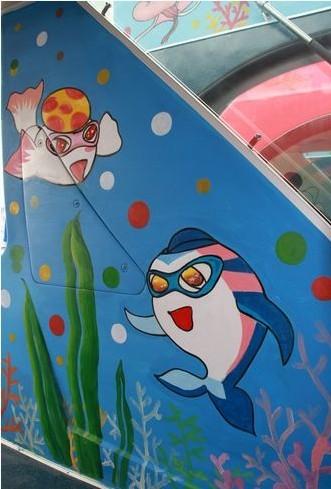 海洋手绘卡通墙绘